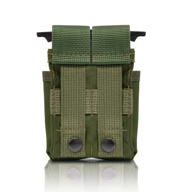 Tactical Double Pistol Mag Pouch - Olive back